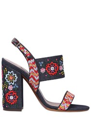 Tabitha Simmons 110Mm Senna Embroidered Denim Sandals