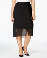 Mblm By Tess Holliday Trendy Plus Size Mesh Overlay Pencil Skirt Black Purple