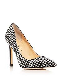 Ivanka Trump Carra Houndstooth Pointed Toe Pumps Black White