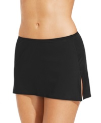 Coco Reef Solid Slit Swim Skirt Women's Swimsuit Black