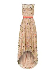 Adrianna Papell Sleeveless Floral Print Gown Coral