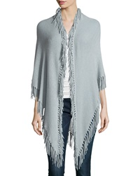Minnie Rose Cashmere Fringe Trim Wrap Gray