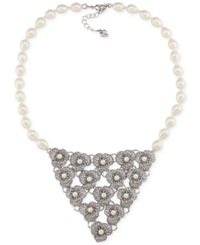 Carolee Silver Tone Faux Pearl And Crystal Bib Necklace Silver White