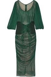 Dolce And Gabbana Lace Up Ruched Silk Tulle Dress Emerald
