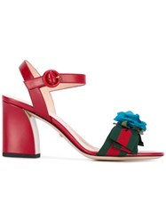 Gucci Floral Embellished Sandals Women Cotton Leather Viscose 40 Red