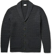 Club Monaco Shawl Collar Chunky Stretch Knit Cardigan Blue
