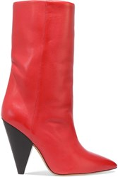 Isabel Marant Lexing Leather Knee Boots Red