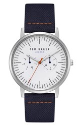 Ted Baker London Brit Multifunction Leather Strap Watch 40Mm Silver Navy