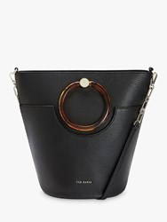 Ted Baker Aniie Leather Circle Hobo Bag Black