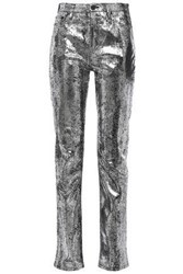 Mcq By Alexander Mcqueen Woman Metallic High Rise Slim Leg Jeans Silver