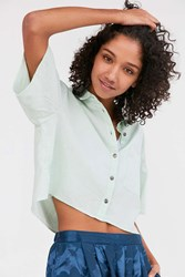 Silence And Noise Cropped Button Down Blouse Green