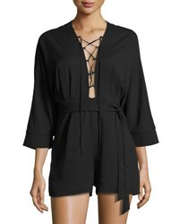 Lucca Couture Bria Lace Up Romper Black
