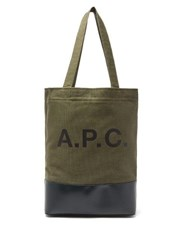 A.P.C. Axel Bi Colour Canvas And Leather Tote Green