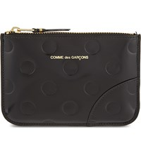 Comme Des Garcons Polka Dot Embossed Leather Pouch Black