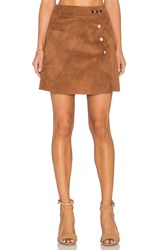 1. State Side Button A Line Mini Faux Suede Skirt Brown