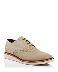 Toms Brogue Leather And Canvas Wingtip Oxfords Taupe
