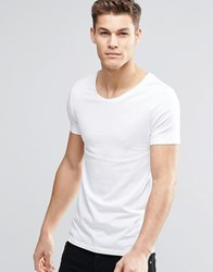 Asos Fitted Fit T Shirt With Scoop Neck And Stretch In White White