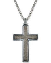 Esquire Men's Jewelry Meteorite Cross Pendant Necklace In Sterling Silver Only At Macy's Gray