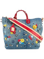 Dolce And Gabbana Embellished Tote Bag Women Cotton Leather Metal Glass One Size Blue