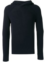 Z Zegna Knitted Hoodie Blue