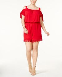 Ing Trendy Plus Size Cold Shoulder Romper Red