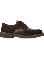 Eleventy Knit Detail Brogues Brown