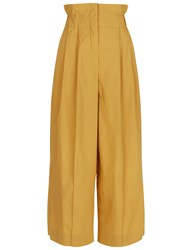 Sonia Rykiel Mustard Cotton High Waisted Trousers Brown