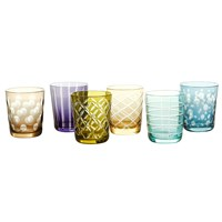 Pols Potten Mixed Cuttings Glass Tumblers Set Of 6