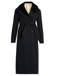 Christophe Lemaire Asymmetric Collar Double Breasted Wool Coat Navy