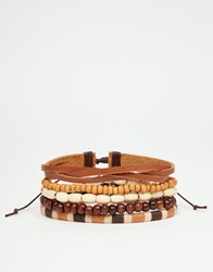 Asos Leather And Bead Bracelet Pack With Mustard Highlights Brown