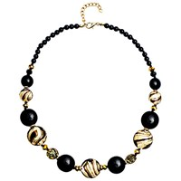 Martick Candy Cane Swirl Murano Glass And Crystal Necklace Black Gold