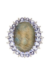 Olivia Leone Sterling Silver Labradorite Tanzanite And White Topaz Ring Purple