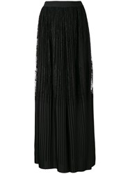 Twin Set Pleated Lace Palazzo Trousers Women Polyamide Polyester 44 Black