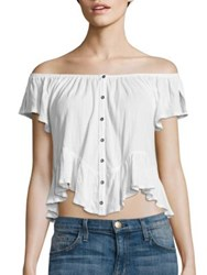 Free People Mint Julep Off The Shoulder Tee White