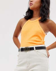 Monki Faux Leather Skinny Belt With Gold Hardware In Black