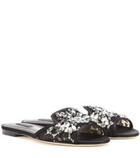 Dolce And Gabbana Embellished Lace Slippers Black