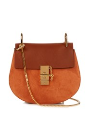 Chloe Drew Small Leather And Suede Cross Body Bag Tan