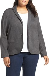 Olivia Moon Plus Size Women's Ponte Blazer Charcoal