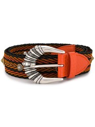 Orciani Woven Engraved Buckle Belt Orange