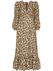 Shrimps Rosemary Leopard Print Midi Dress Brown