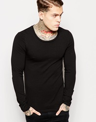 Asos Extreme Muscle Fit Long Sleeve T Shirt With Scoop Neck Black