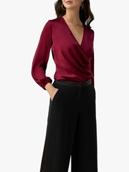 Pure Collection Silk Wrap Blouse Deep Claret