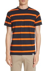 Norse Projects Men's Neils Industrial Stripe T Shirt Navy