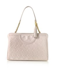 Tory Burch Fleming Quilted Leather Open Shoulder Bag Bedrock