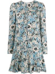 Veronica Beard Floral Flared Dress Blue