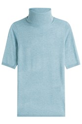 Steffen Schraut Short Sleeve Knit Top With Turtleneck Blue