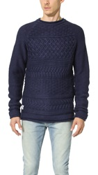 Native Youth Basket Weave Knit Crew Sweater Navy
