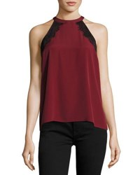 1.State Lace Trimmed Halter Neck Blouse Wine