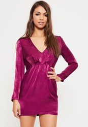 Missguided Petite Exclusive Pink Satin V Neck Mini Dress Raspberry