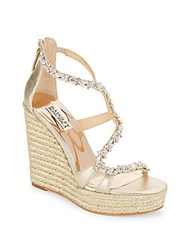 Badgley Mischka Catniss Rhinestone Embellished Metallic Leather Espadrille Platform Wedge Sandals